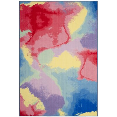 Darline Paint Brush Fuchsia/Yellow Area Rug Rug Size: Rectangle 67 x 9