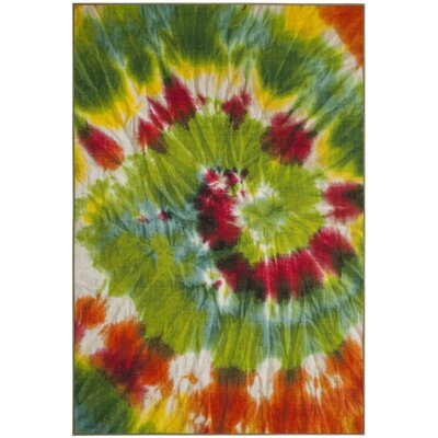 Dawna Paint Brush Green/Orange Area Rug Rug Size: 3 x 5