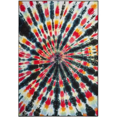 Jaylee Paint Brush Black/Coral Area Rug Rug Size: 67 x 9