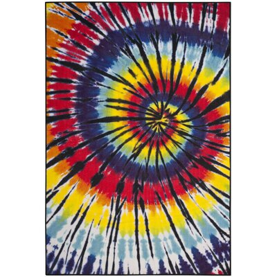 Jemma Paint Brush Fuchsia/Yellow Area Rug Rug Size: 3 x 5