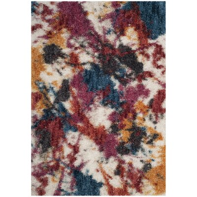 Delma Ivory/Blue Area Rug Rug Size: Rectangle 6 x 9