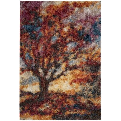 Delma Power Loom Rust/Blue Area Rug Rug Size: 51 x 76