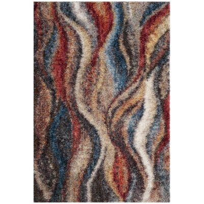 Delma Rust/Blue Area Rug Rug Size: Rectangle 51 x 76