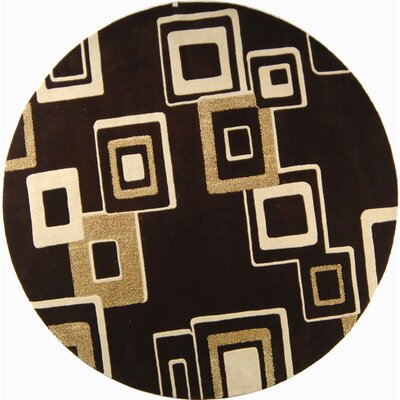 Chidi Brown/Beige Wool Area Rug Rug Size: Round 8