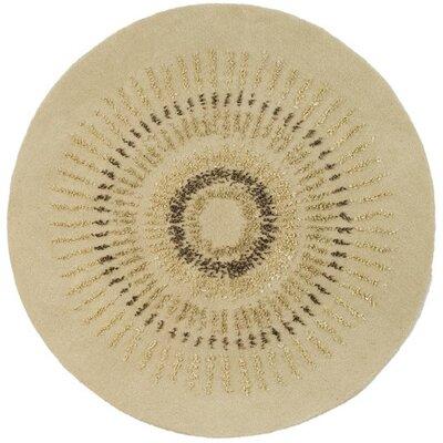 Chidi Beige/Gold Area Rug Rug Size: Round 6