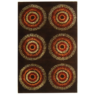 Chidi Brown/Gold Area Rug Rug Size: Round 8