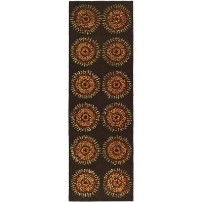 Freda Brown/Gold Area Rug Rug Size: Runner 26 x 8