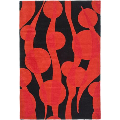Freda Black/Red Area Rug Rug Size: 36 x 56
