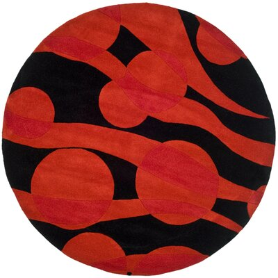 Freda Black/Red Area Rug Rug Size: Round 6