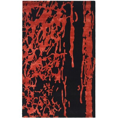 Chidi Black/Red Area Rug Rug Size: 96 x 136
