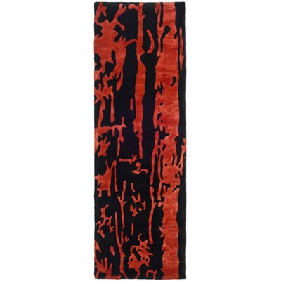 Chidi Black/Red Area Rug Rug Size: Runner 26 x 8