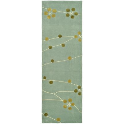 Chidi Light Blue/Gold Area Rug Rug Size: Runner 26 x 8