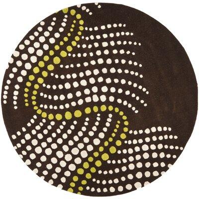 Freda Brown/Beige Area Rug Rug Size: Round 6