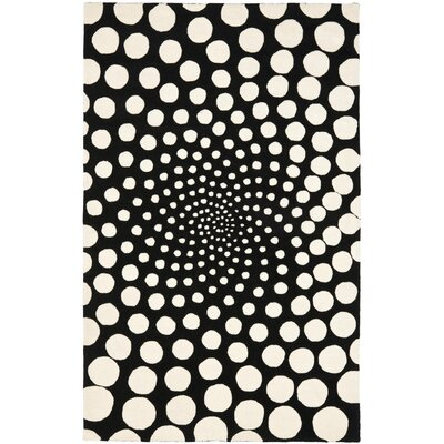 Chidi Black/Ivory Contemporary Rug Rug Size: Rectangle 76 x 96