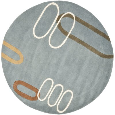 Freda Dark Blue/Dark Multi Contemporary Rug Rug Size: Round 6