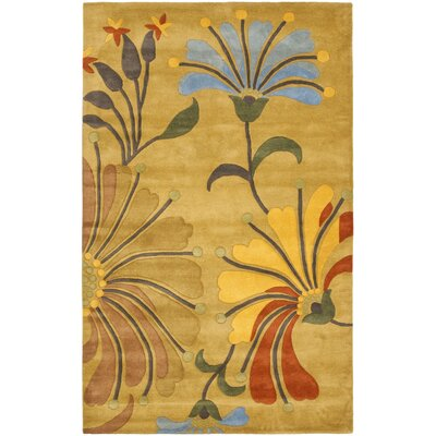 Chidi Golden Olive Contemporary Rug Rug Size: 76 x 96