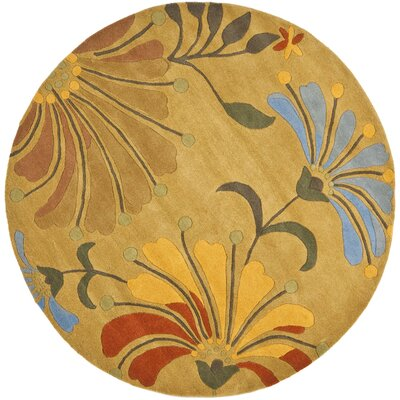 Chidi Golden Olive Contemporary Rug Rug Size: Round 6