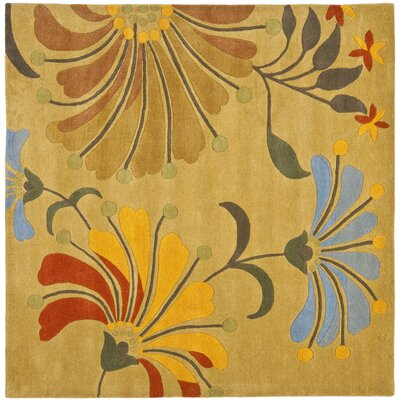 Chidi Golden Olive Contemporary Rug Rug Size: Square 6