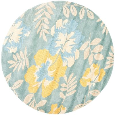 Chidi Light Blue Multi Contemporary Rug Rug Size: Round 6