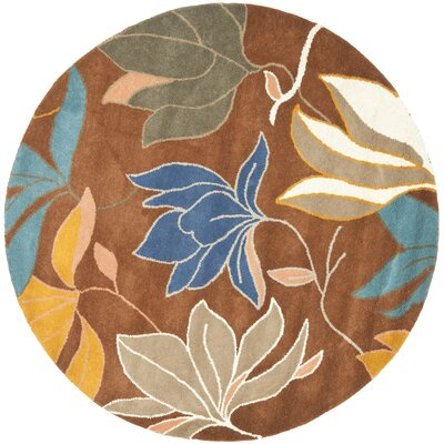 Freda Brown/Dark Light Multi Contemporary Rug Rug Size: Round 6