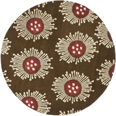 Chidi Brown/Multi Contemporary Rug Rug Size: Round 6