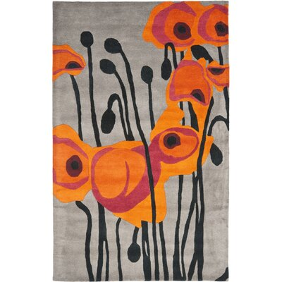 Freda Grey/Orange Contemporary Rug Rug Size: 36 x 56