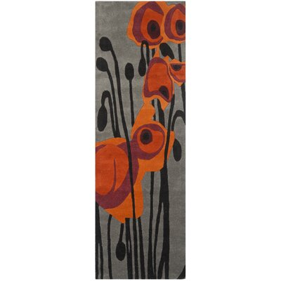 Freda Hand-Tufted Wool Gray/Orange Area Rug Rug Size: Runner 26 x 8
