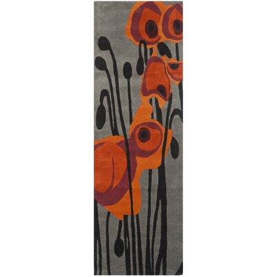 Freda Grey/Orange Contemporary Rug Rug Size: Runner 26 x 8