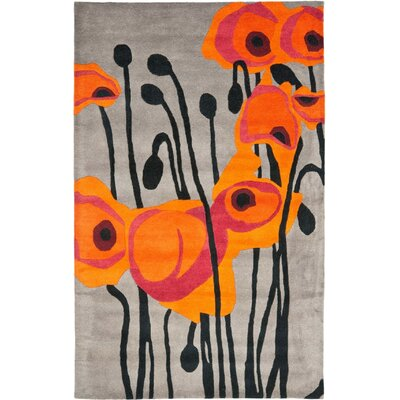 Freda Hand-Tufted Wool Gray/Orange Area Rug Rug Size: Rectangle 6 x 9