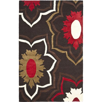 Freda Dark Light Brown/Light Dark Multi Contemporary Rug Rug Size: 76 x 96