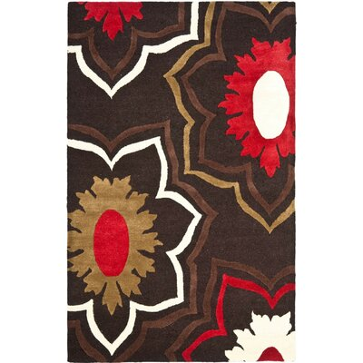 Freda Hand-Tufted Wool Brown/Red/Beige Area Rug Rug Size: Rectangle 5 x 8