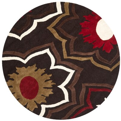 Freda Hand-Tufted Wool Brown/Red/Beige Area Rug Rug Size: Round 6