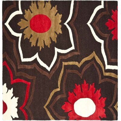 Freda Dark Light Brown/Light Dark Multi Contemporary Rug Rug Size: Square 6