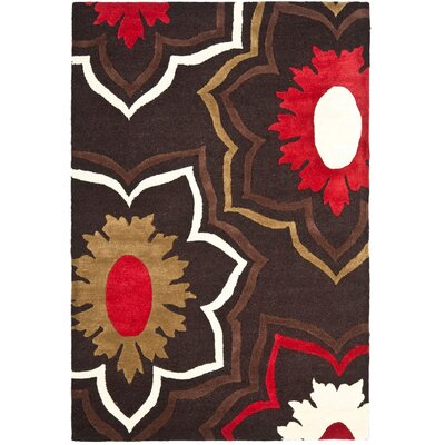 Freda Hand-Tufted Wool Brown/Red/Beige Area Rug Rug Size: Rectangle 2 x 3