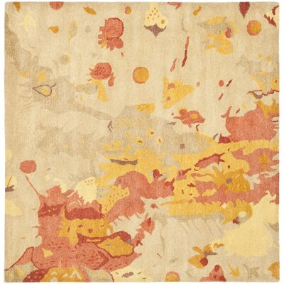 Freda Beige & Orange Area Rug Rug Size: Square 8