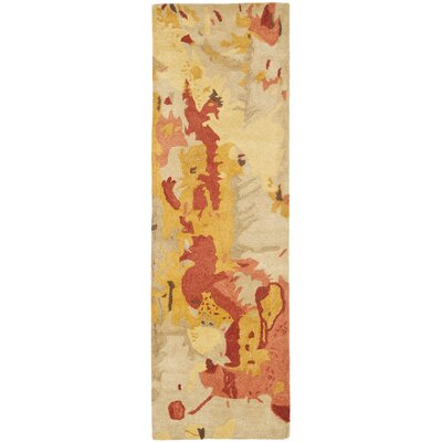 Freda Beige & Orange Area Rug Rug Size: Runner 26 x 8