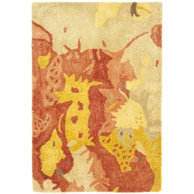 Freda Beige & Orange Area Rug Rug Size: 2 x 3