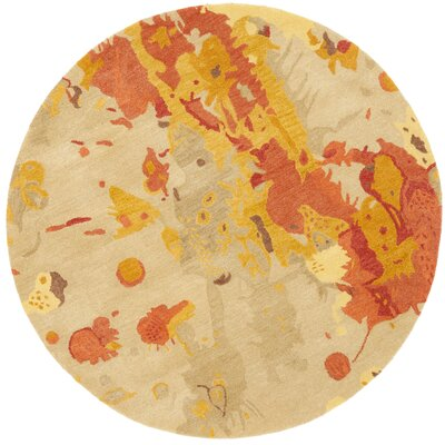 Freda Beige & Orange Area Rug Rug Size: Round 6