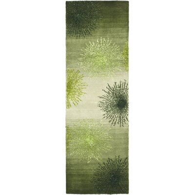 Freda Hand Woven Wool Green Area Rug Rug Size: Runner 26 x 10
