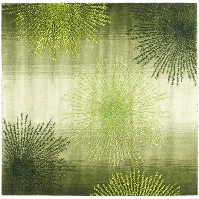 Freda Hand Woven Wool Green Area Rug Rug Size: Square 6