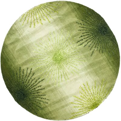 Freda Hand Woven Wool Green Area Rug Rug Size: Round 6