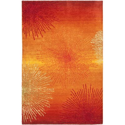 Freda Rust/Orange Area Rug Rug Size: 36 x 56