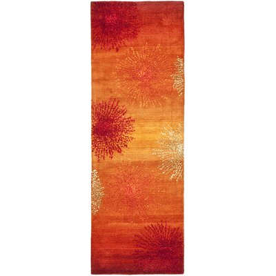 Freda Rust/Orange Area Rug Rug Size: Runner 26 x 12