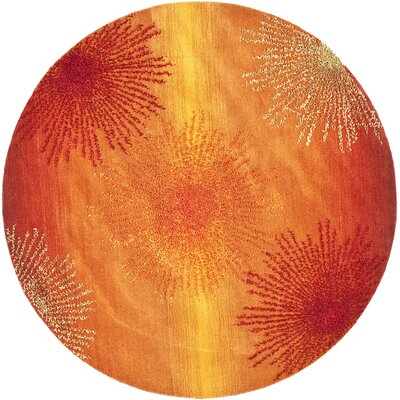 Freda Rust/Orange Area Rug Rug Size: Round 6