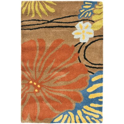 Chidi Brown Floral Area Rug Rug Size: Rectangle 36 x 56