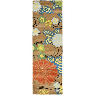 Freda Brown Floral Area Rug Rug Size: Runner 26 x 14