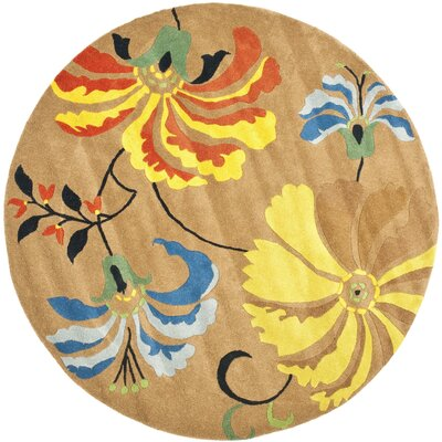 Chidi Brown Area Rug Rug Size: Round 6
