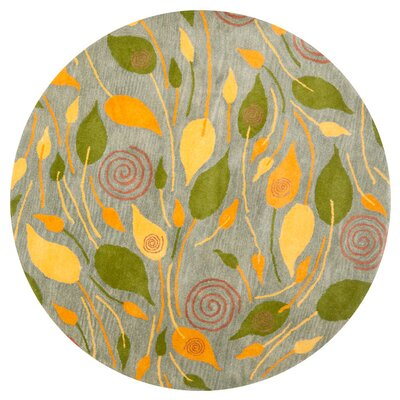 Chidi Leaves Area Rug Rug Size: Round 6
