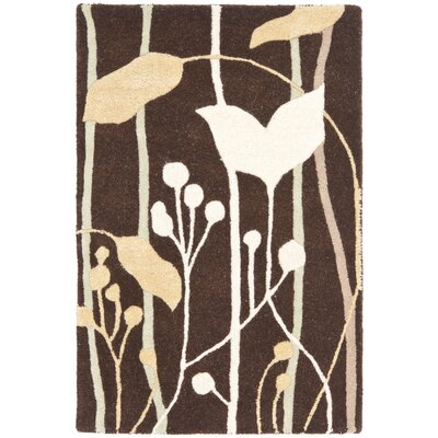Freda Dark Brown Area Rug Rug Size: 2 x 3