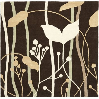 Freda Dark Brown Area Rug Rug Size: Square 6
